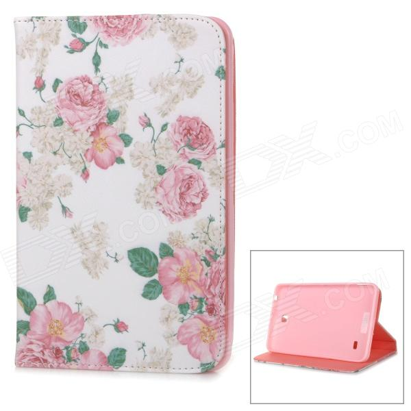 Flower Pattern Flip Open PU Case w/ Stand for 7.0'' Samsung Galaxy Tab 4 / T230 / T231 / T235 kefo sm t230 sm t231 case for samsung galaxy tab 4 7 0 inch t230 t231 t235 flip pu leather case for tab 4 7 0 sm t230 cover
