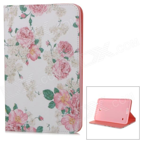 Stylish Floral Pattern Flip-open PU Case w/ Holder for 8