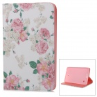 "Stylish Floral Pattern Flip-open PU Case w/ Holder for 8"" Samsung Galaxy Tab 4 / T330 / T331"