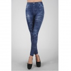 Women's Stylish Elastic Tight Pants Leggings - Blue + White (Free Size)