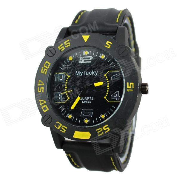 MY LUCKY 933 Men's Aluminum Alloy Case Silicone Band Quartz Analog Wrist Watch - Black (1 x 377)