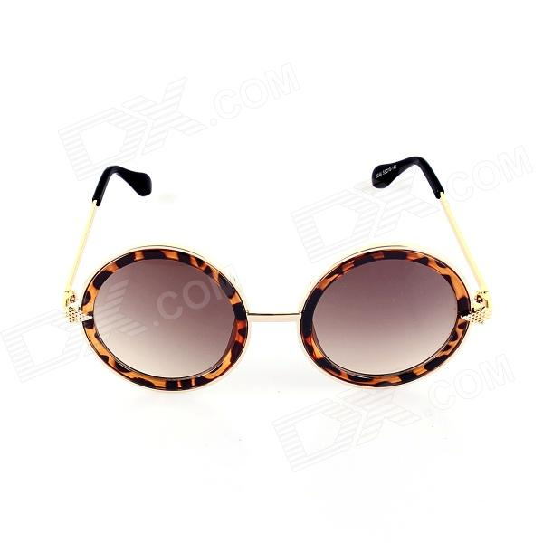 SYS0032 Women's Fashionable Round Zinc Alloy Frame Resin Lens UV400 Protection Sunglasses - Golden stylish zinc alloy frame resin lens uv 400 protection men s sunglasses black silver