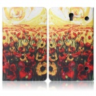 ENKAY Flower Pattern Protective PU Leather Case for Samsung Galaxy Tab S 8.4 T700 - Multicolor