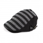 YUSHAN Fashion Stripe Style Cotton Beret Cap - Black + Dark Grey