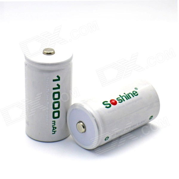 Soshine D11000 1.2V 10500mAh Rechargeable Ni-MH D/R20 Batteries - White (2 PCS) аккумулятор d ansmann r20 10000 mah ni mh бочка 2 шт 5030642