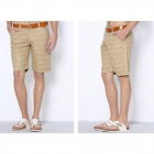 OLRIK K5 Men's Casual Flax Pants Shorts - Khaki