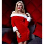 ZL3741 Sexy Off-The-Shoulder Dress for Christmas / Halloween - Red + White