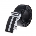 Men's Business Style Leather Belt w/ Automatic Ratchet Buckle - Black