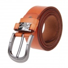 Men's Skull Style Cow Split Leather Zinc Alloy Pin Buckle Belt - Orange