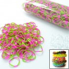 "S2014060009 DIY Looms Elastic Silicone Rainbow Bands + ""S"" Hook Set for Children - Deep Pink + Green"