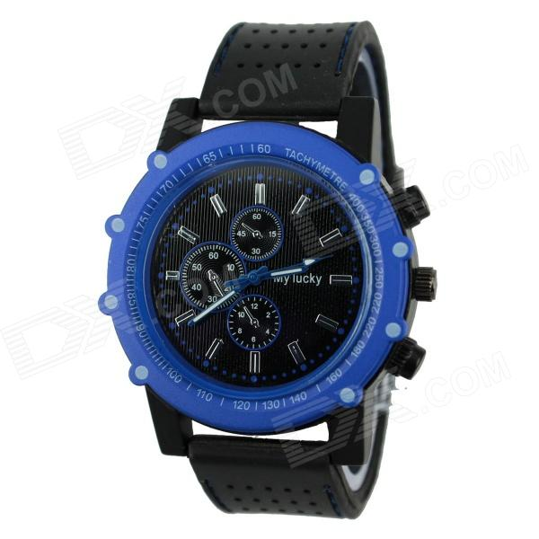 Men's Football Series Sports Silicone Band Analog Quartz Wrist Watch - Blue + Black (1 x 377)