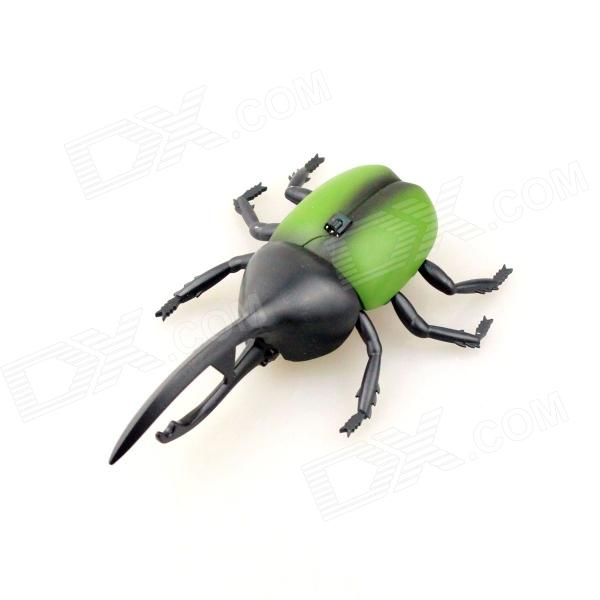 Lifelike 360' Rotating Infrared Remote Beetle w/ LED Eye Toy - Green