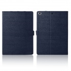 ENKAY ENK-3175 Wood Grain Pattern Smart Auto Sleep Protective Case w/ Stand for IPad Air - Dark blue