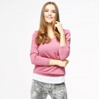Catwalk88 Women's Fashionable Round Neck Long Sleeves Pullover Loose Knitwear Top - Pink (L)
