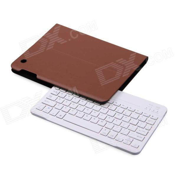 B.O.W Detachable Bluetooth V3.0 79-Key Keyboard w/ PU Leather Case for IPAD 2 / 3 / 4 - Brown 84 key bluetooth v3 0 keyboard w detachable pu case for ipad air green