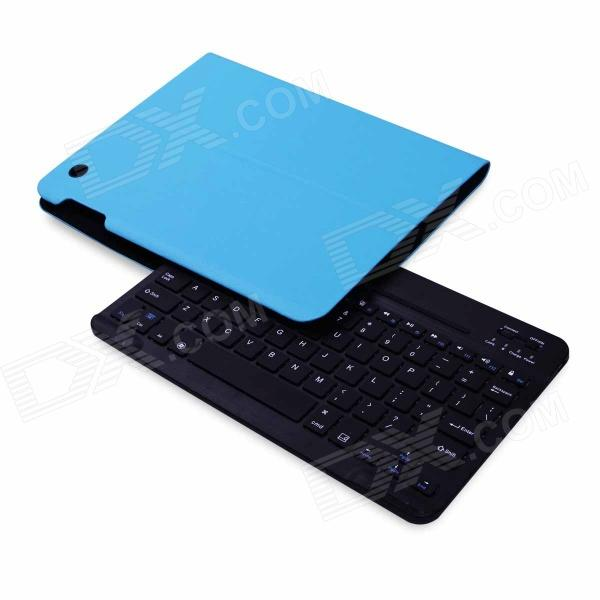 B.O.W Detachable Bluetooth V3.0 79-Key Keyboard w/ PU Leather Case for IPAD 2 / 3 / 4 - Blue