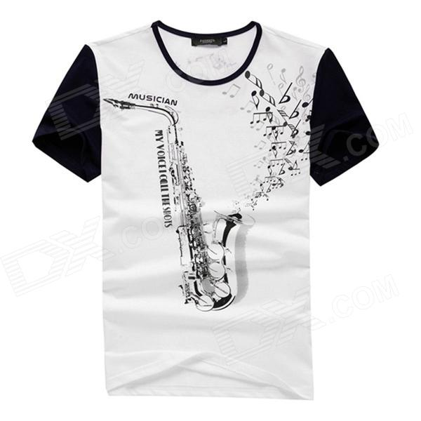 FENL 2065 Men's Summer Round Neck Saxophone Print Cotton Short Sleeve Tee - Blue + White (Size XXL)
