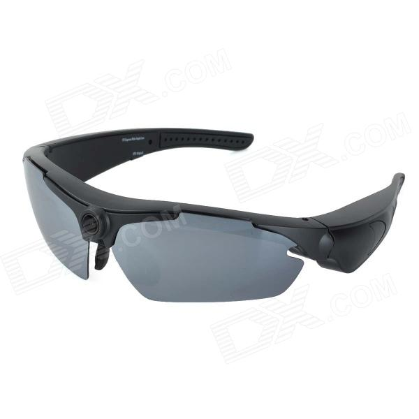 Sports Cycling Sunglasses w/ HD 720P 5.0MP 170 Degree Wide-angle Camera Lens - Black