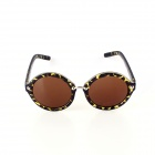 SYS0044 Retro Style PC Frame PC Lens UV400 Protection Sunglasses for Women - Black Leopard