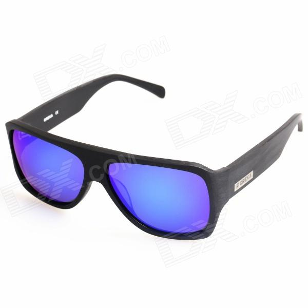 OREKA 14012 Fashionable UV400 Protection Polarized Blue Revo Lens Sunglasses - Black oreka children s cool cellulose acetate frame blue revo lens uv400 sunglasses brown blue