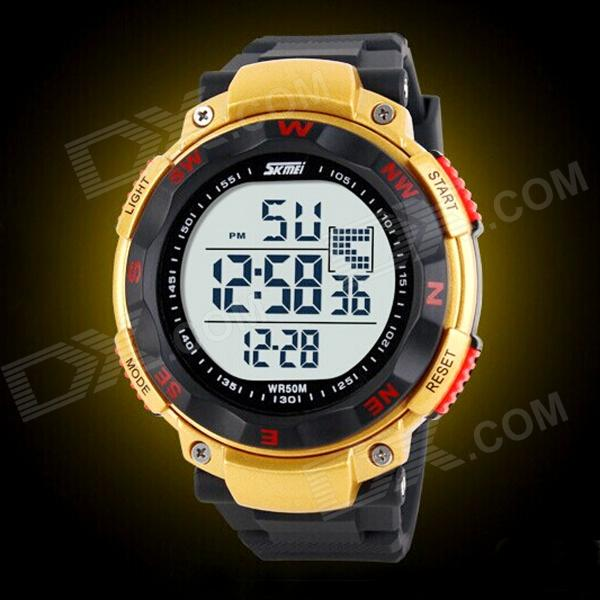 SKMEI Men's Simple Rotary Dial Electronic Movement Sports Watch - Black + Yellow (1 x CR2025)