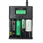 "Soshine H4 1.5"" LCD 4-Slot Universal Charger for Li-ion / LiFePO4 / 26650 / 18650 / AA / AAA - Black"