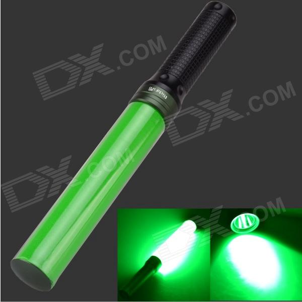 3W Green Light LED Hand Light Stick Aluminum Alloy LED Flashlight - Green + Black (3 x AAA)