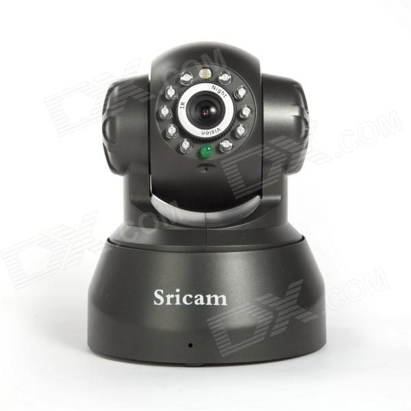 Sricam AP001 Indoor Wireless Wifi IR 300KP CMOS P2P PTZ Surveillance Network IP Camera - Black Grey