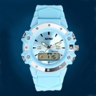 SKMEI 0821 Waterproof Analog + Digital Wristwatch w/ Backlight - Light Blue + Silver (1 x CR2016)