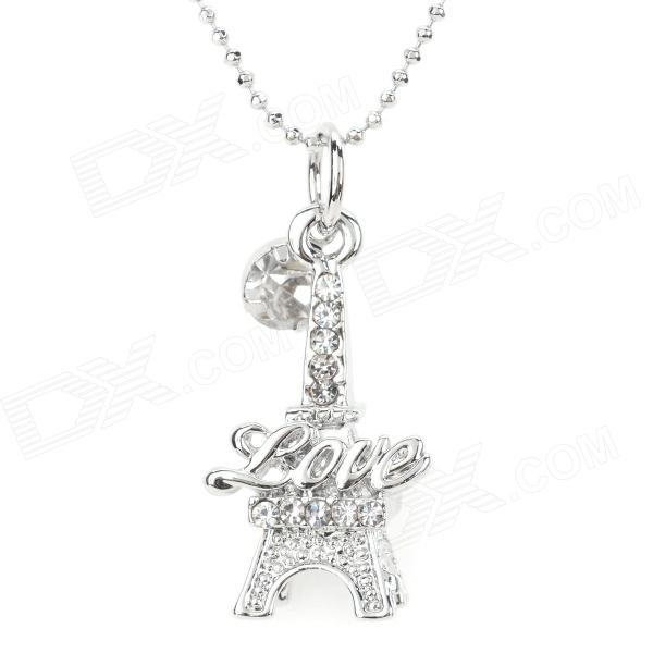 ZEA-SL814-1Y Women's Eiffel Tower Shaped Zinc Alloy + Zircon Pendant Necklace - Silver