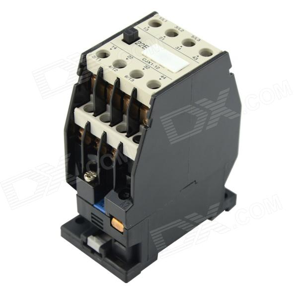 CJX1-12 / 22 20A 220V AC Contactor - Black + White new original ecma c11010ss 220v 1kw 3 18nm 3000rpm ac servo motor with oil seal brake