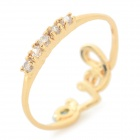 Women's Stylish Rhinestone-studded Copper + Zircon Ring - Golden