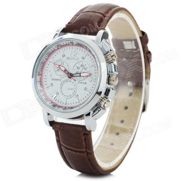 Zhongyi z-612 Women's PU Band Quartz Analog Wrist Watch - Brown + White (1 x 626)