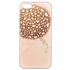 Fashionable Relievo Heart Pattern Protective PC Back Case for IPHONE 5 / 5S - Pink + Brown