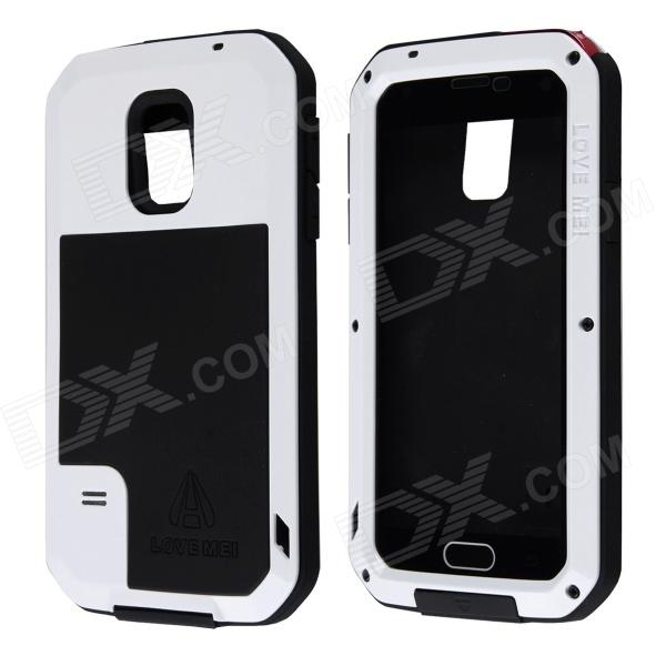 LOVE MEI HW01 Aluminum Alloy + Silicone Back Case w/ Strap for Samsung Galaxy S5 - White + Black