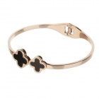 WSS042 Men's Anti-allergic 316L Stainless Steel Double Clovers Conch Bracelet - Rose Gold + Black