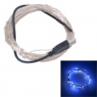 USB Powered 6W SMD 0603 LED White Blue Light Lamp Strip - Silver + Black (DC 5V / 1000cm)