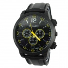 My Lucky 0021 Men's Large Dial Silicone Band Quartz Analog Sports Watch - Black + Yellow (1 x 377)