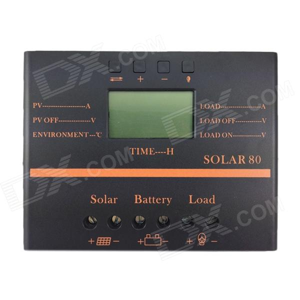 TWP Solar80 2.4 LCD 80A 12V /24V PV Panel Battery Charge Solar Controller - Black + Orange 100w folding solar panel solar battery charger for car boat caravan golf cart