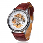 IK Y73 Men's Waterproof PU Band Hollow Dial Mechanical Analog Wrist Watch - Brown + White