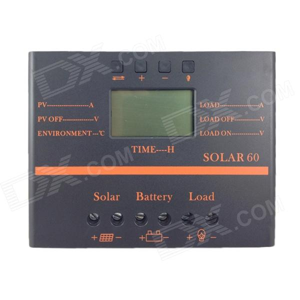 TWP Solar60 2.4 LCD 60A 12V /24V PV Panel Battery Charge Solar Controller - Black + Orange 100w folding solar panel solar battery charger for car boat caravan golf cart