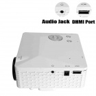 Geekwire LP-6B Portable FHD 1080P LED Projector w/ HDMI, VAG, USB 2.0, AV, SD - White (EU Plug)