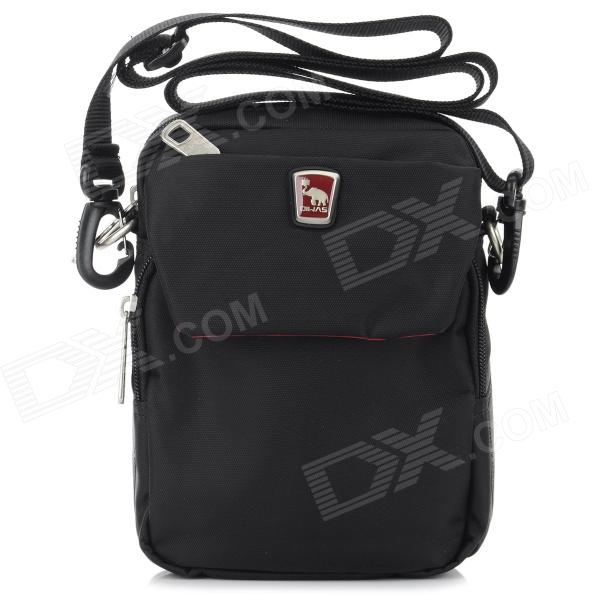 OIWAS Casual Outdoor Sport Nylon Zipper Opening Messenger Bag - Black
