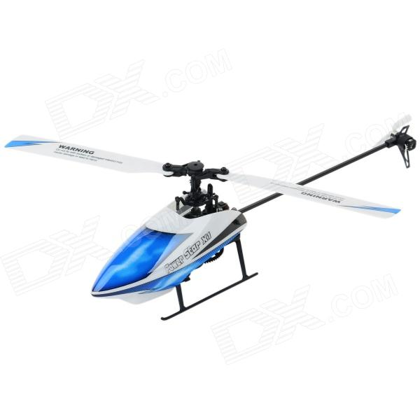 WLtoys V97 6-CH 2.4GHz Radio Control Outdoor R/C Helicopter w/ Gyroscope - Blue + White rechargeable wireless 3 ch control r c radio control helicopter with gyroscope