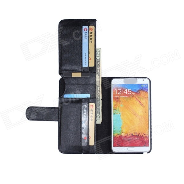 Flip Open PU Leather Case w/ Card Slot for Samsung Galaxy Note III - Black