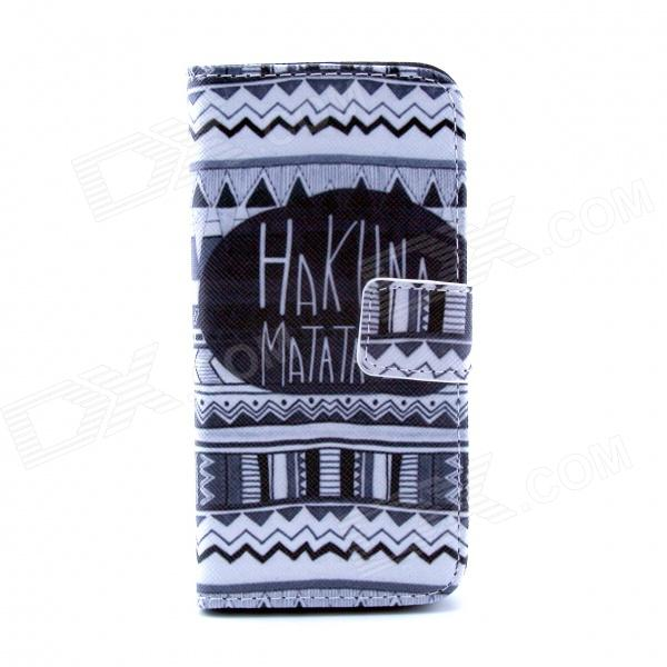 Hukuna Matata Pattern Flip-open PU Case w/ Stand / Card Slot for IPHONE 5 / 5S - White + Black cute owl pattern pu leather flip open case w stand card slot for iphone 4 4s multi color