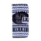 Hukuna Matata Pattern Flip-open PU Case w/ Stand / Card Slot for IPHONE 5 / 5S - White + Black