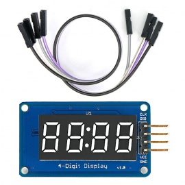 """0.36"""" LED 4-Digit Display Module w/ Clock Point / 4-Pin Dupont Line for Arduino ( 20cm )"""