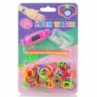 Rainbow-02 Square Bracelet Watch w/ DIY Rainbow Weaving Loom Bands Kit - Deep Pink + Multi-Colored