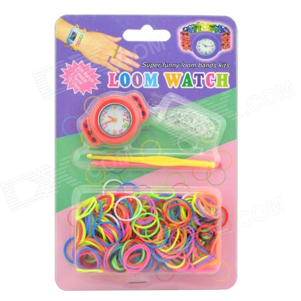 Rainbow-02 Round Bracelet Watch w/ DIY Rainbow Weaving Loom Bands Kit - Red + Multi-Colored